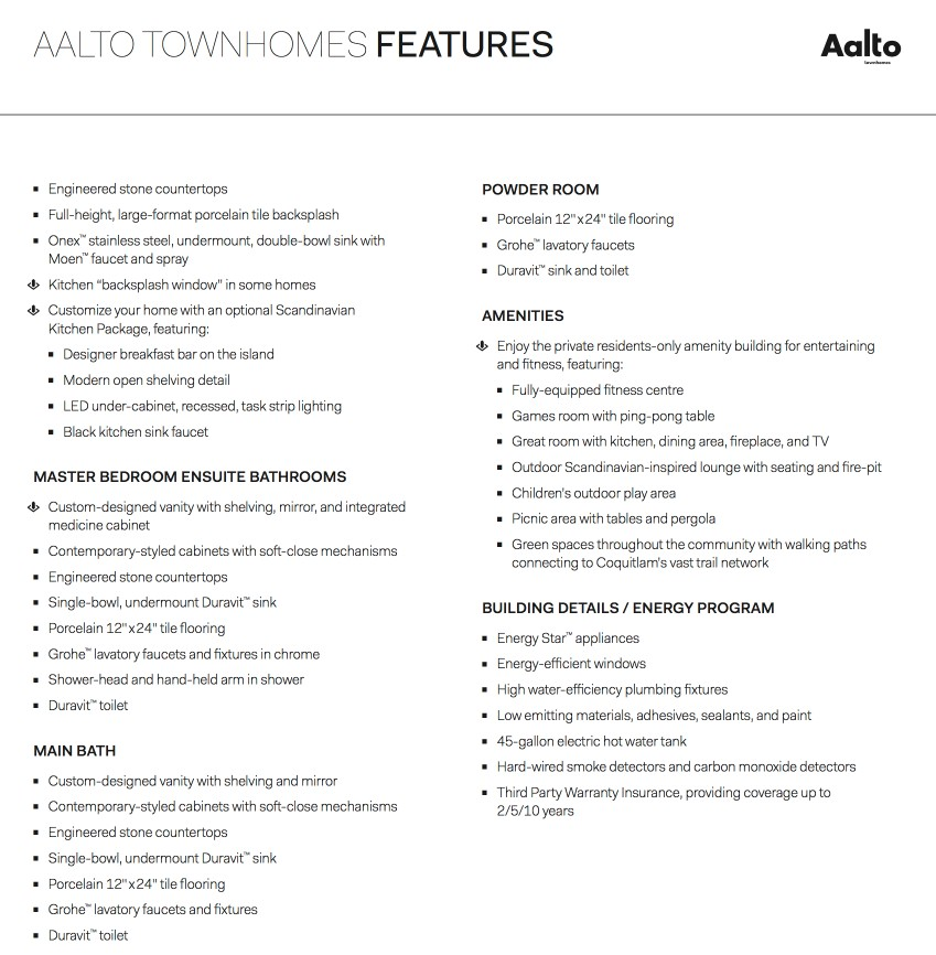 Aalto Coquitlam - feature sheet 1