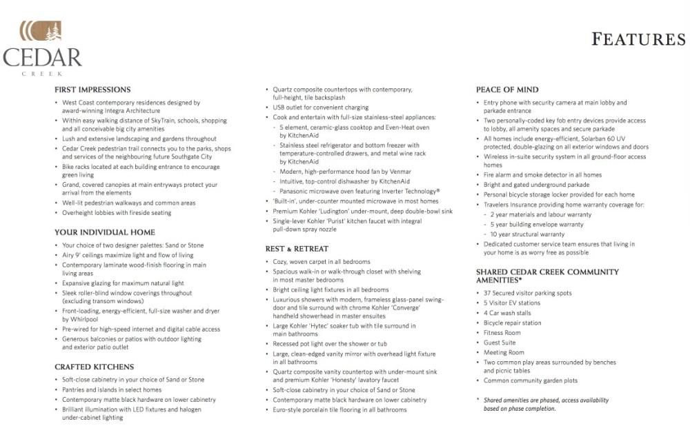 Cedar Creek Burnaby -feature sheet