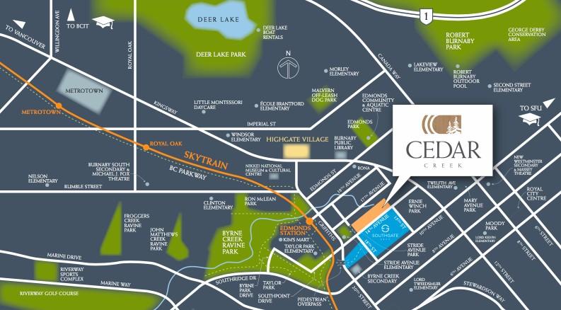 Cedar Creek Burnaby - map